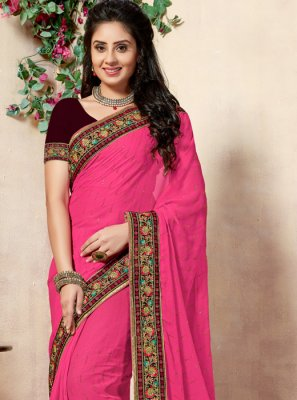 Georgette Classic Saree in Magenta