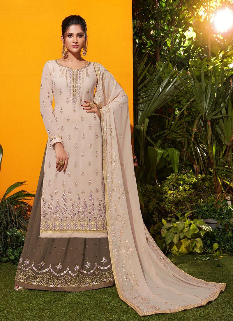 Georgette Cream Designer Salwar Kameez