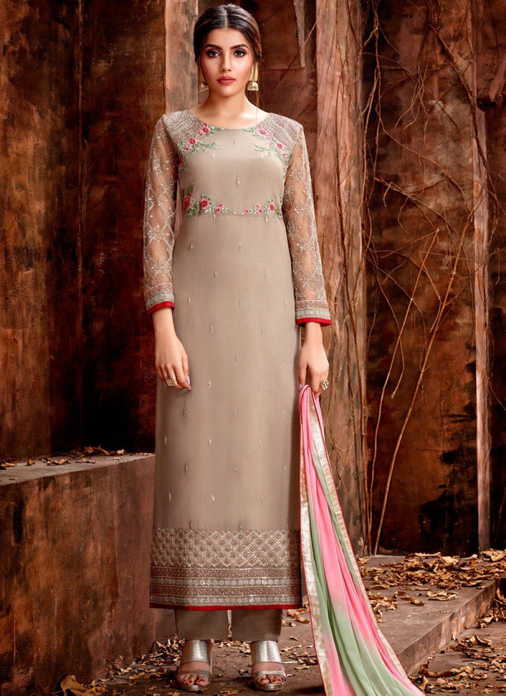 Georgette Cream Designer Straight Salwar Suit