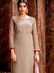 Georgette Cream Designer Straight Salwar Suit