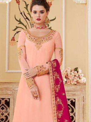 Georgette Cream Embroidered Designer Palazzo Salwar Suit