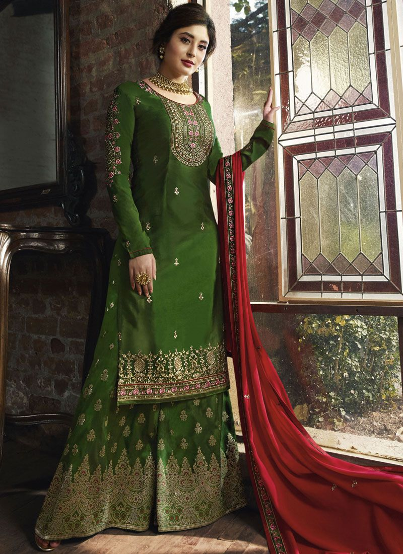 Georgette Designer Palazzo Salwar Kameez in Green