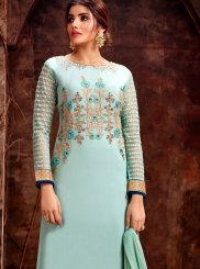Georgette Designer Straight Salwar Kameez in Sea Green