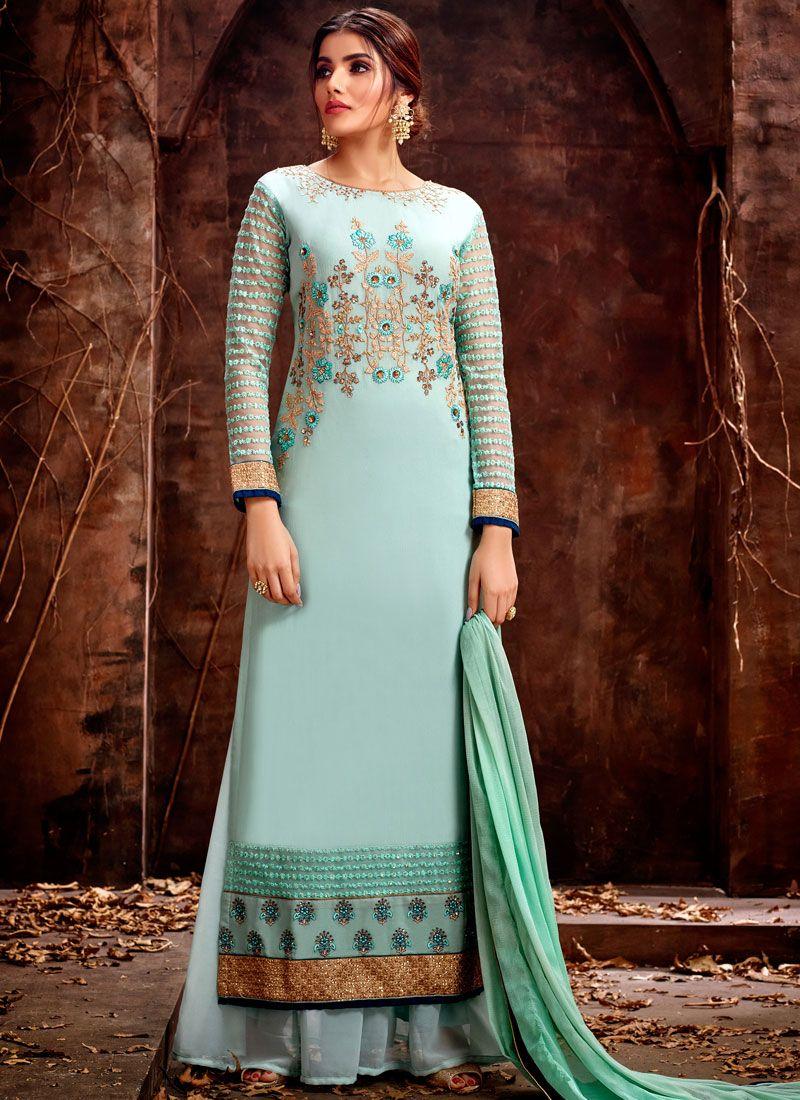 Georgette Designer Straight Salwar Kameez in Sea Green