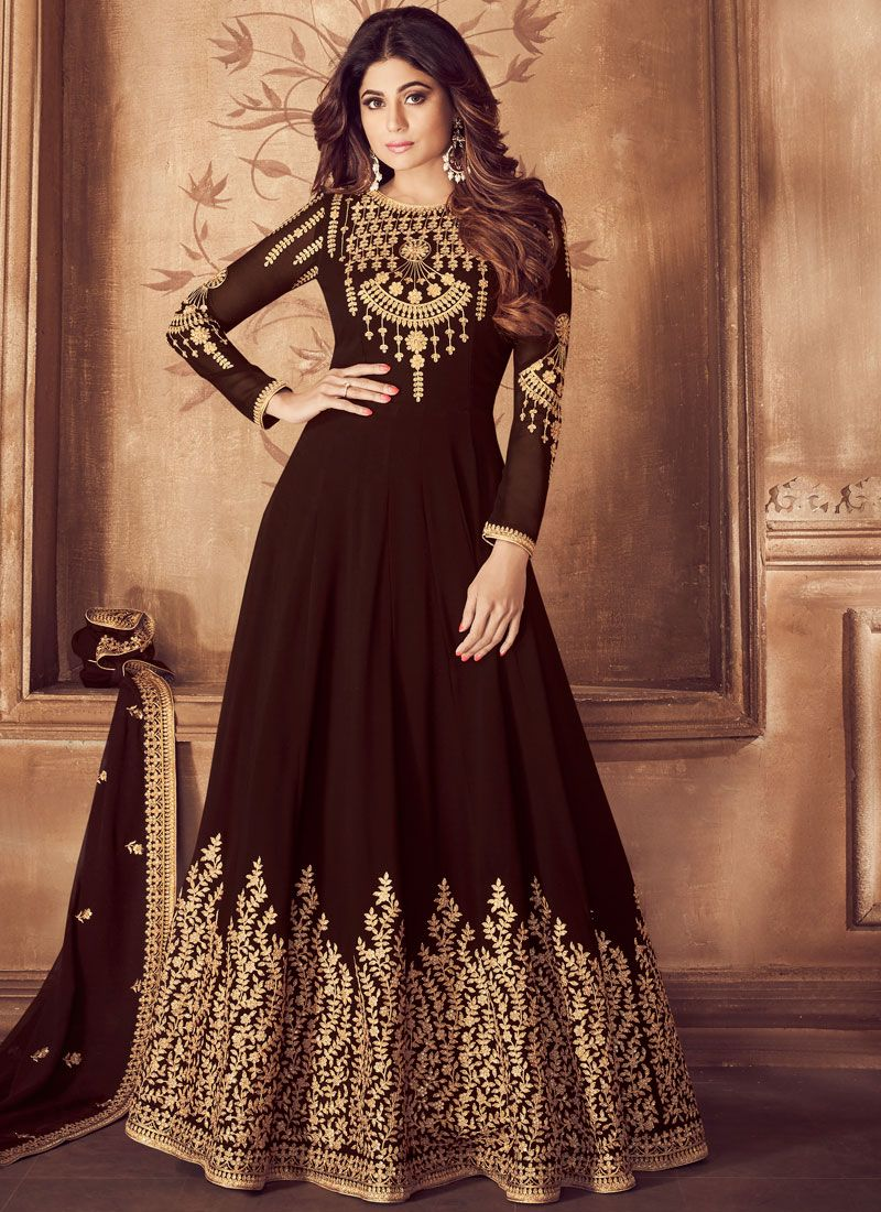 Georgette Embroidered Brown Anarkali Salwar Suit