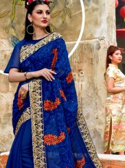 Georgette Embroidered Classic Saree in Blue