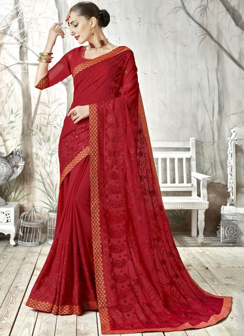 Georgette Embroidered Classic Saree in Red