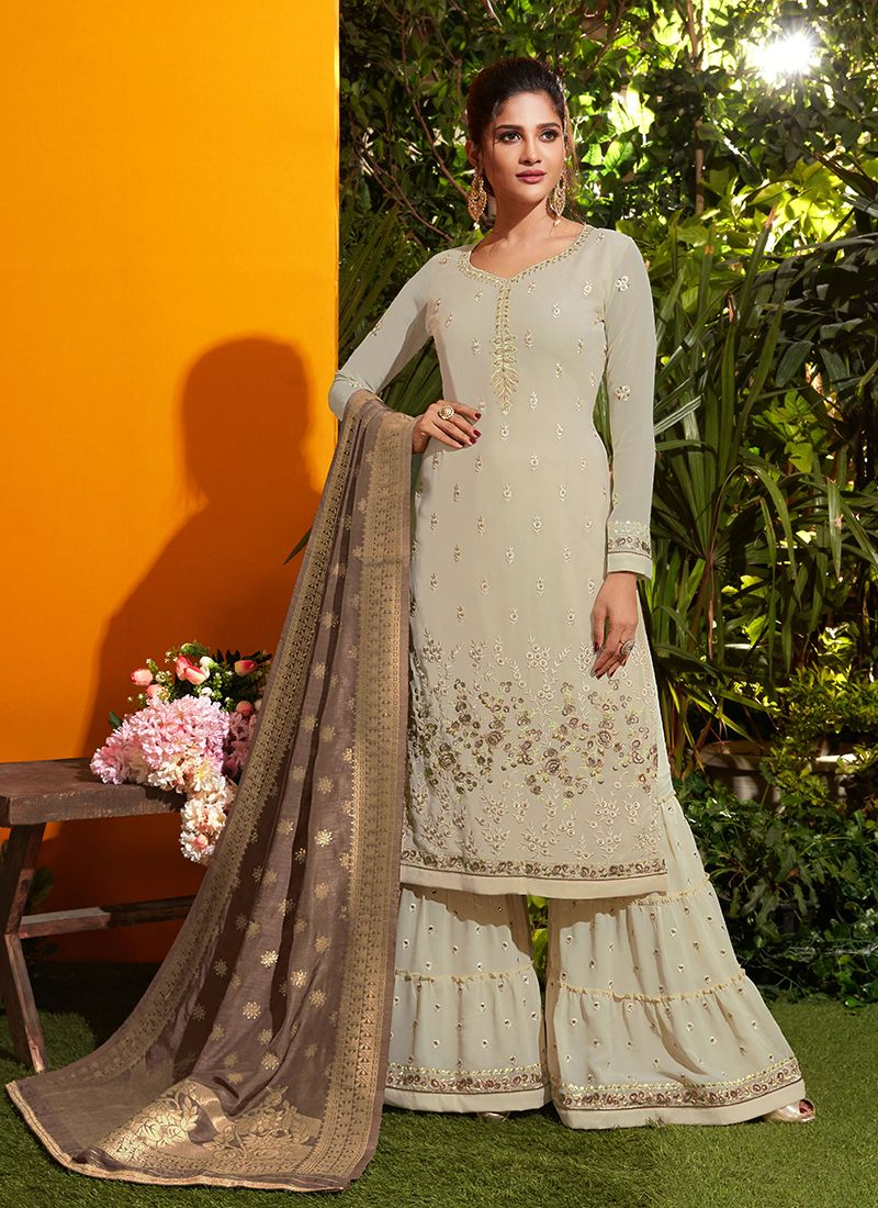 Georgette Embroidered Cream Designer Palazzo Salwar Kameez