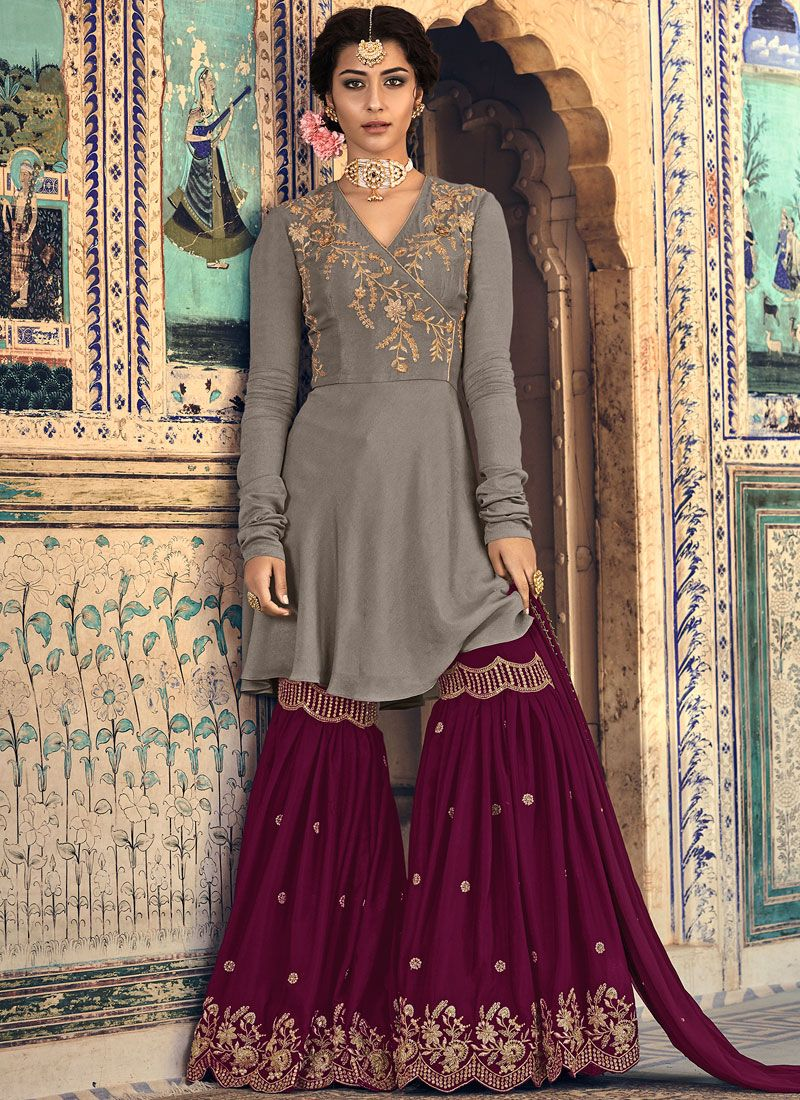 Georgette Embroidered Designer Palazzo Salwar Suit in Grey