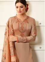 Georgette Embroidered Designer Palazzo Suit in Beige
