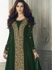 Georgette Embroidered Designer Salwar Kameez in Green