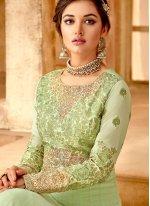 Georgette Embroidered Green Anarkali Salwar Suit