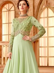 Georgette Embroidered Green Anarkali Salwar Suit