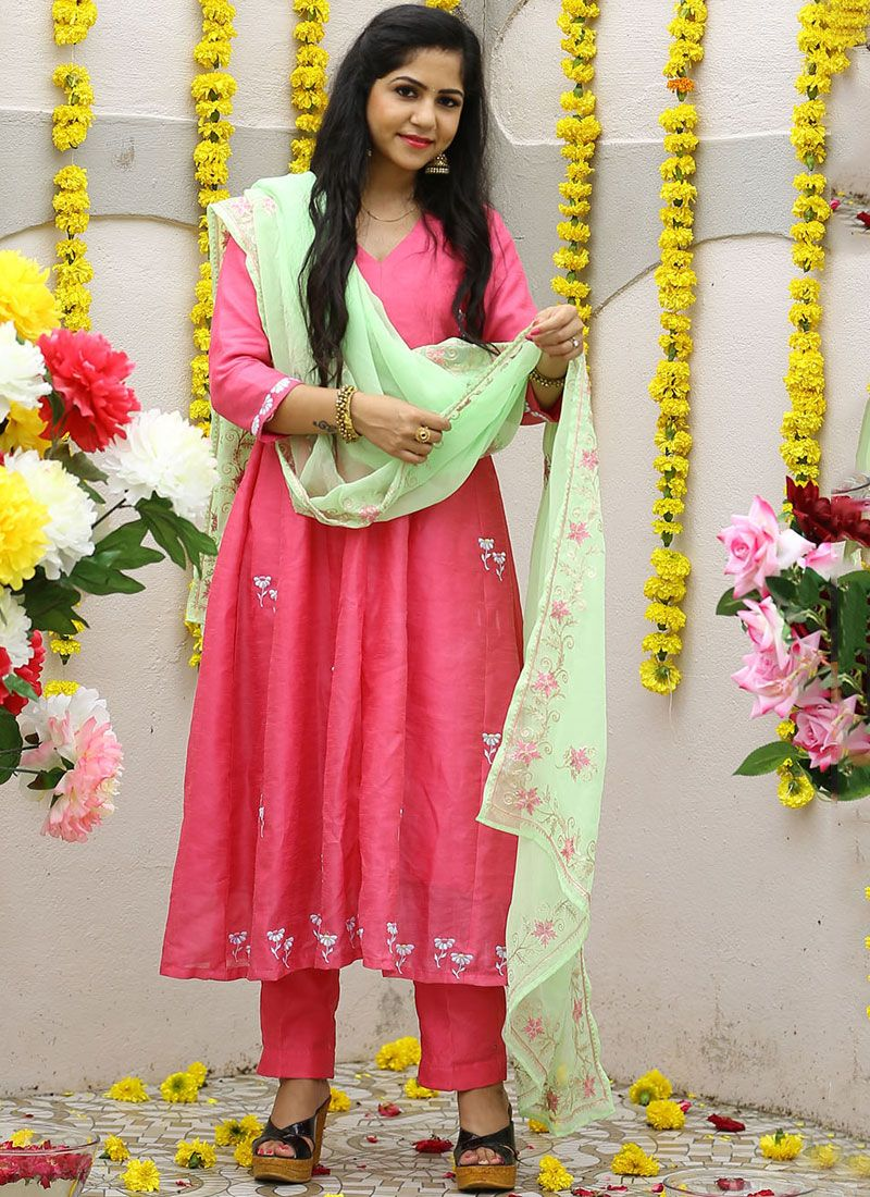 Georgette Embroidered Hot Pink Designer Pakistani Salwar Suit