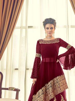 Georgette Embroidered Maroon Designer Lehenga Choli