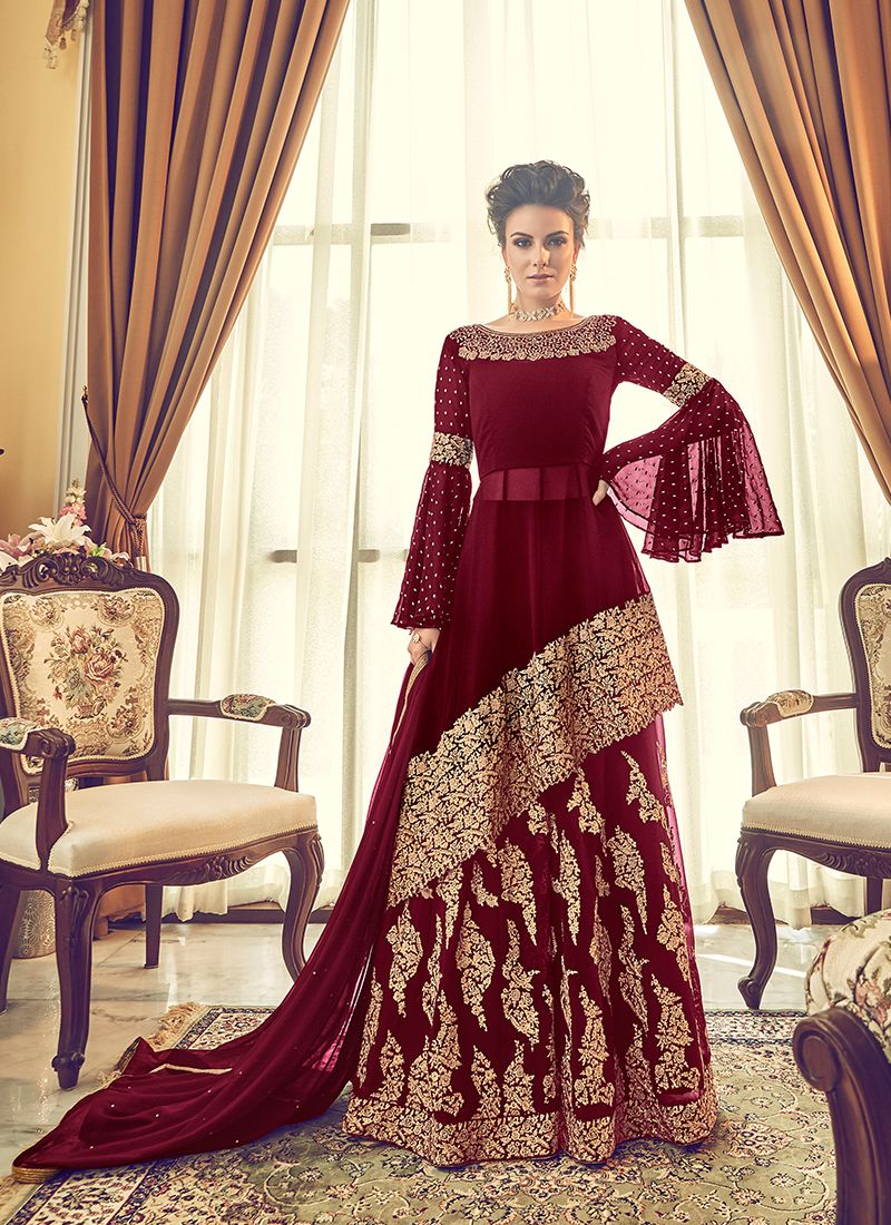Georgette Embroidered Maroon Designer Lehenga Choli