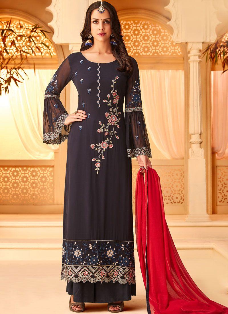 Georgette Embroidered Mauve  Designer Straight Salwar Suit