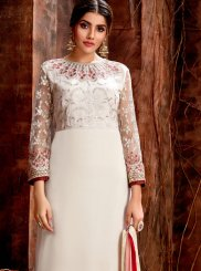 Georgette Embroidered Off White Designer Straight Suit