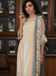 Georgette Embroidered Off White Palazzo Designer Salwar Suit