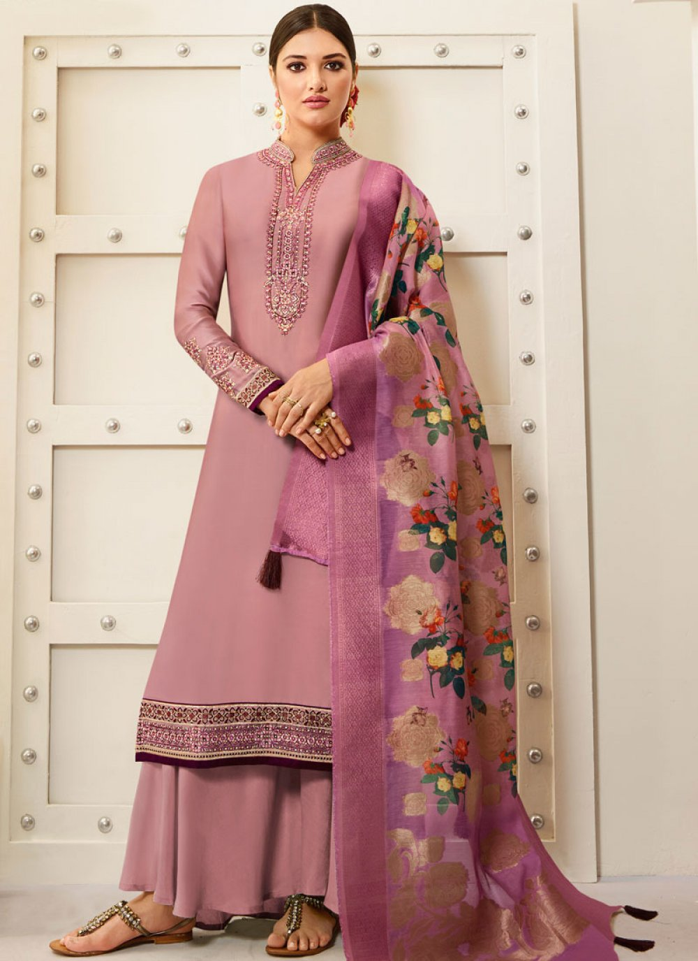 Georgette Embroidered Pink Designer Palazzo Suit