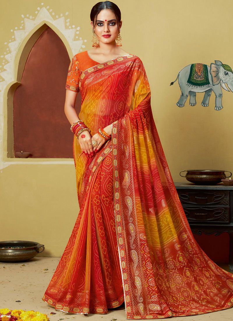 Georgette Embroidered Printed Saree in Multi Colour