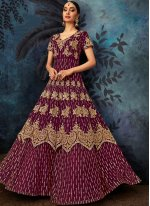 Georgette Embroidered Purple Anarkali Salwar Suit