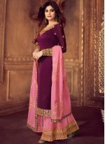 Georgette Embroidered Purple Palazzo Designer Salwar Kameez