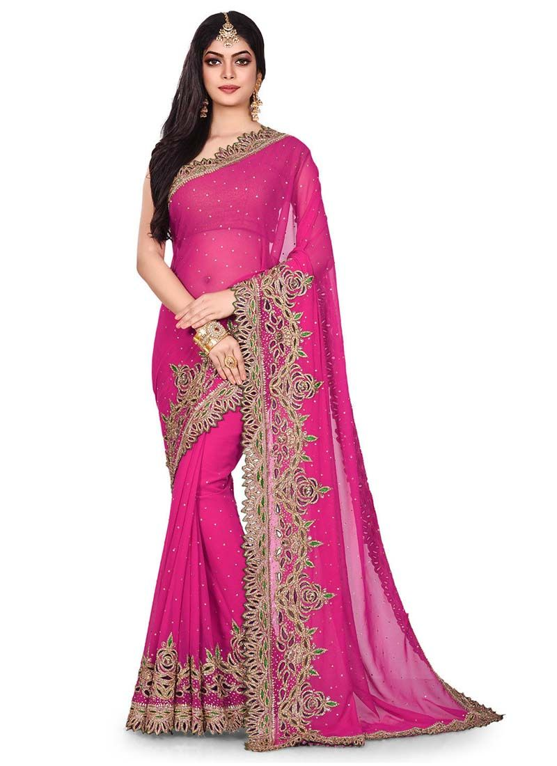 Georgette Embroidered Rani Designer Traditional Saree