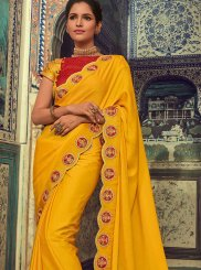 Georgette Embroidered Yellow Silk Saree