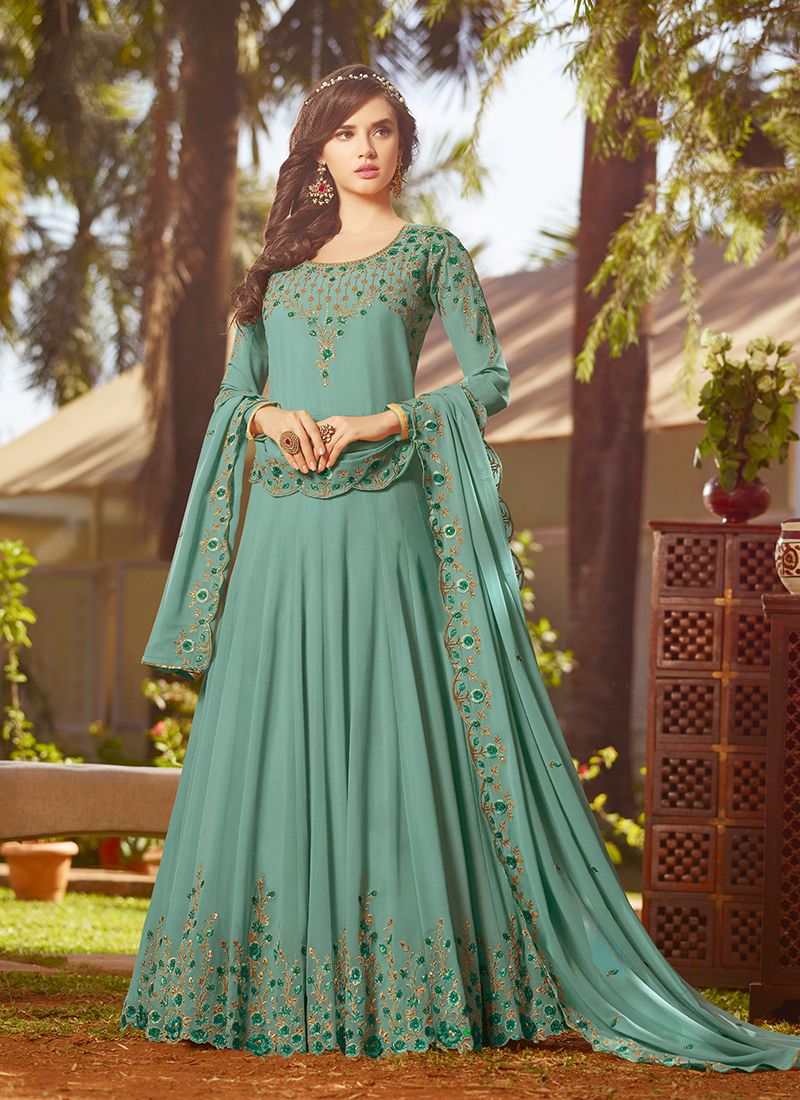 Georgette Green Anarkali Salwar Suit