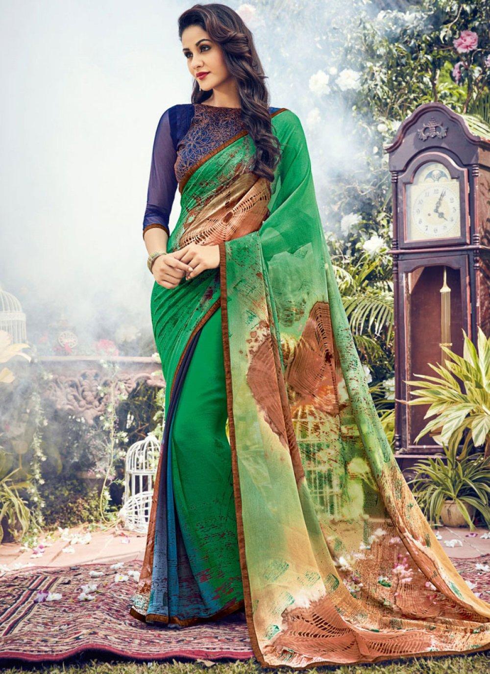 Georgette Green Classic Designer Saree