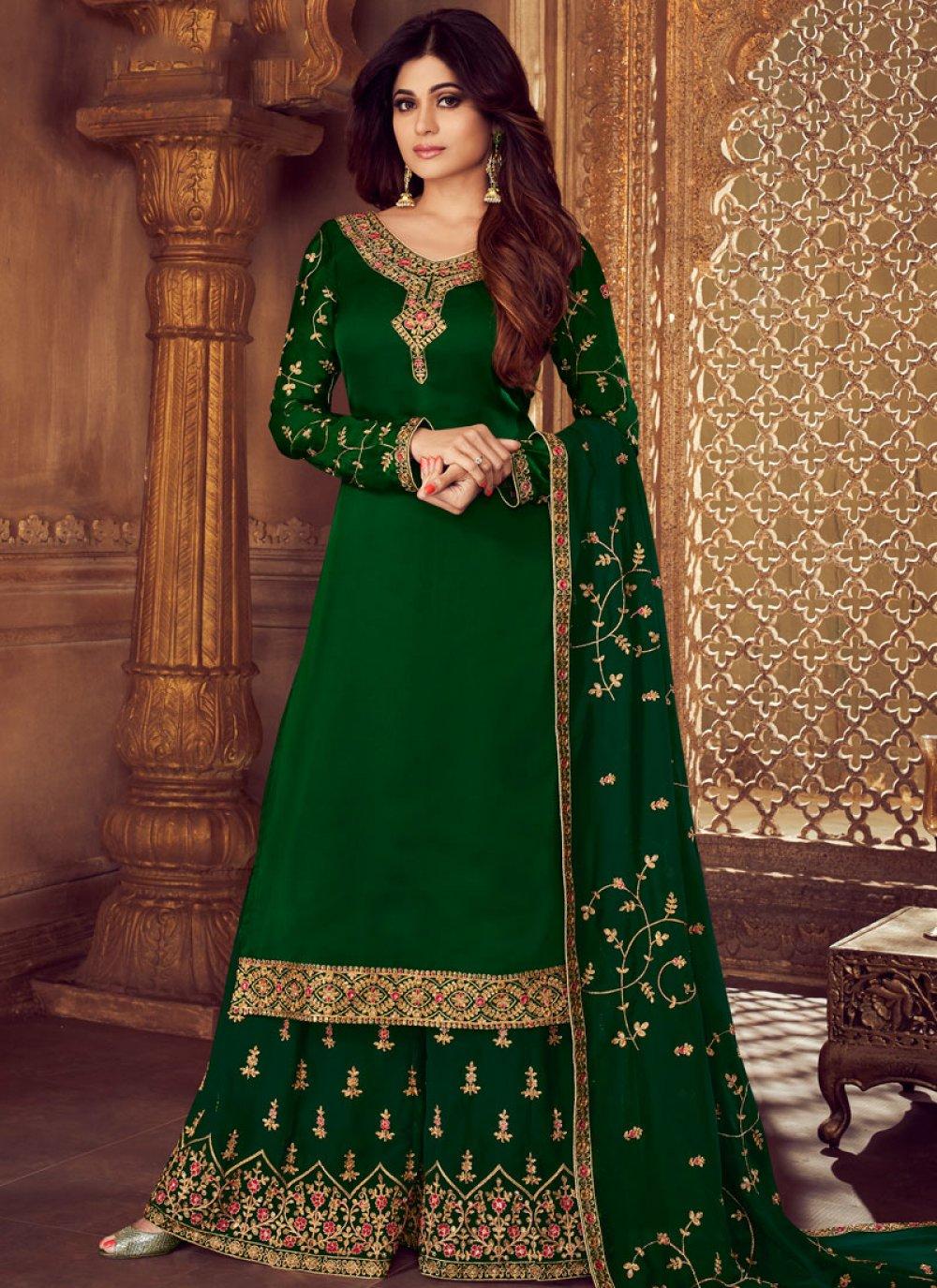 Georgette Green Designer Palazzo Salwar Kameez