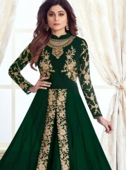 Georgette Green Embroidered Anarkali Salwar Kameez