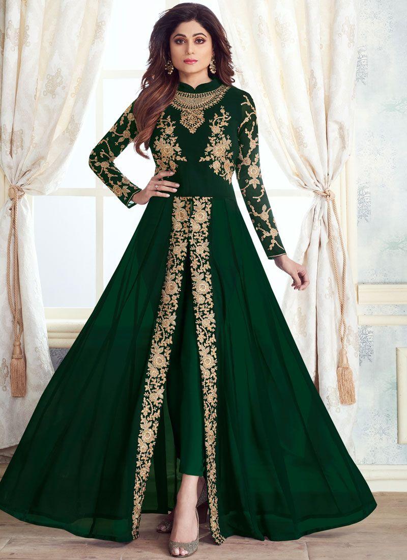 Georgette Green Embroidered Anarkali Salwar Kameez