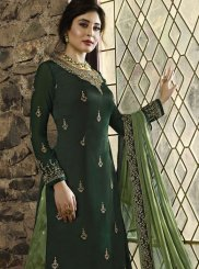 Georgette Green Embroidered Designer Palazzo Salwar Kameez