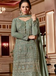Georgette Green Embroidered Designer Palazzo Salwar Kameez
