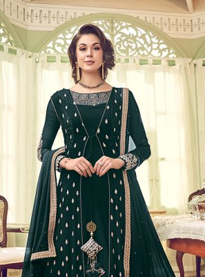 Georgette Green Embroidered Designer Salwar Suit