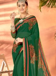 Georgette Green Printed Casual Saree
