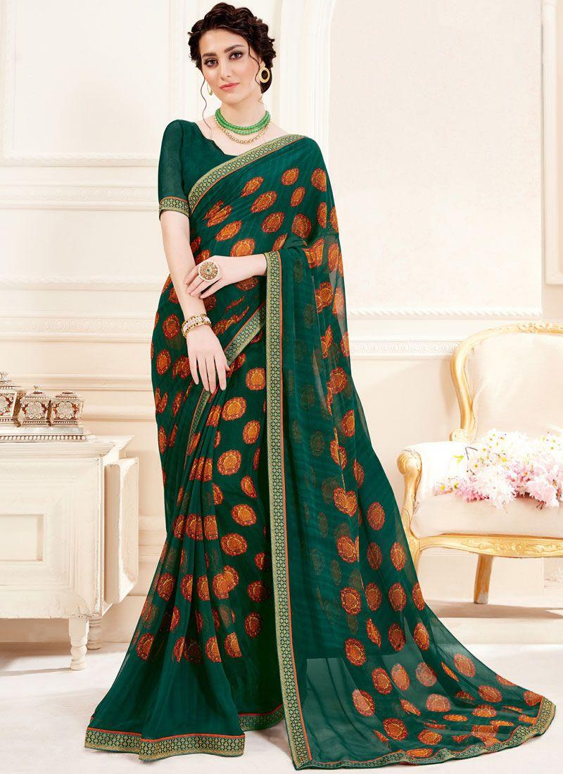 Georgette Green Printed Trendy Saree