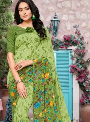 Georgette Green Printed Trendy Saree
