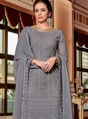 Georgette Grey Embroidered Designer Palazzo Salwar Suit
