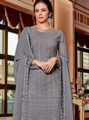 Georgette Grey Embroidered Designer Palazzo Salwar Suit