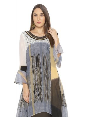 Georgette Grey Printed Designer Salwar Kameez