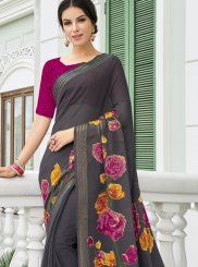 Georgette Grey Printed Saree