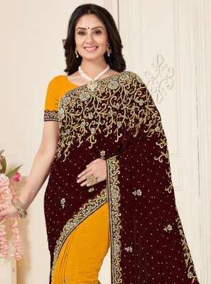 Georgette Half N Half Trendy Saree in Maroon and Mustard