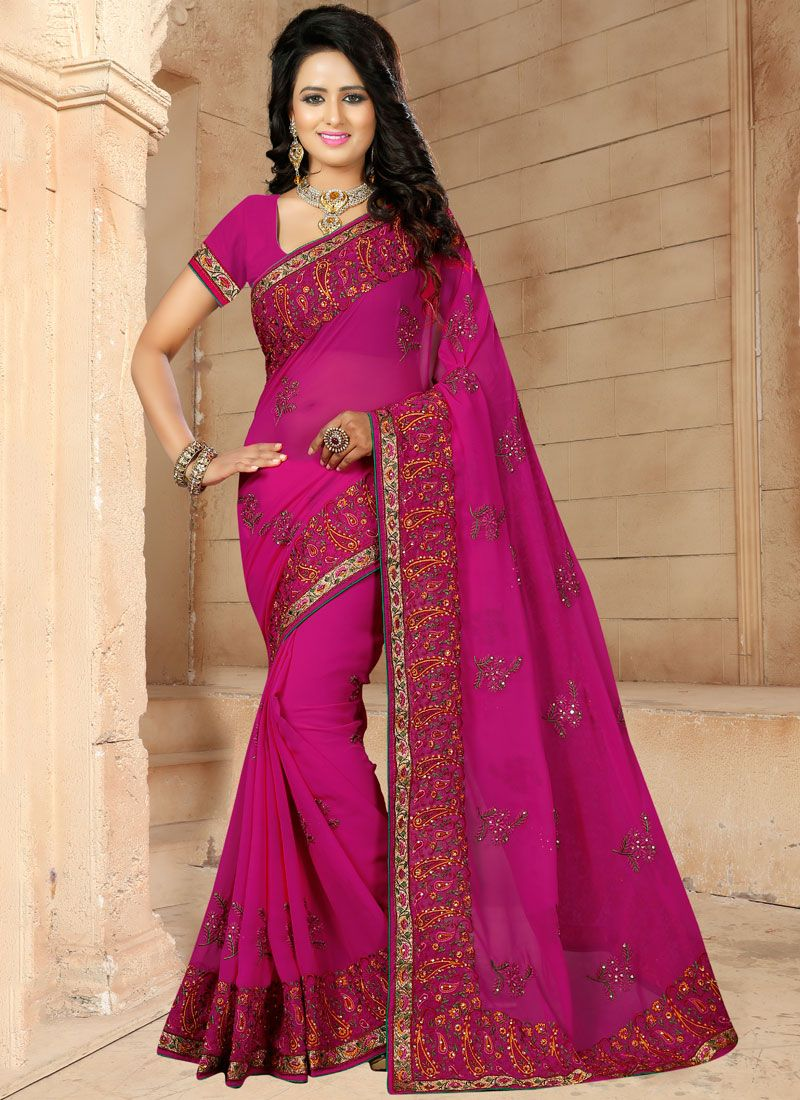 Georgette Magenta Embroidered Classic Designer Saree