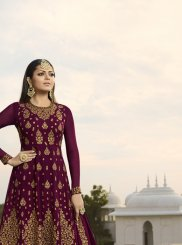 Georgette Maroon Embroidered Designer Lehenga Choli