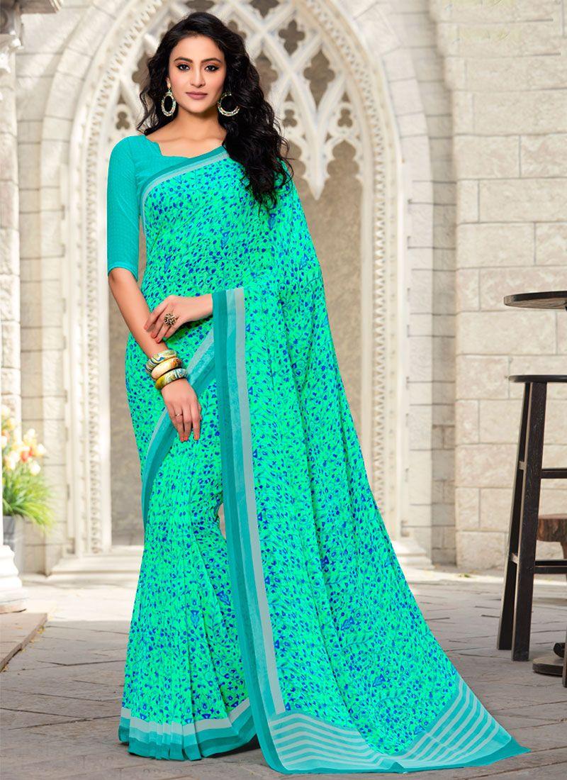 Georgette Multi Colour and Multi Colour Trendy Saree