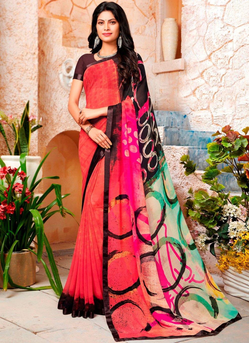 Georgette Multi Colour Printed Trendy Saree