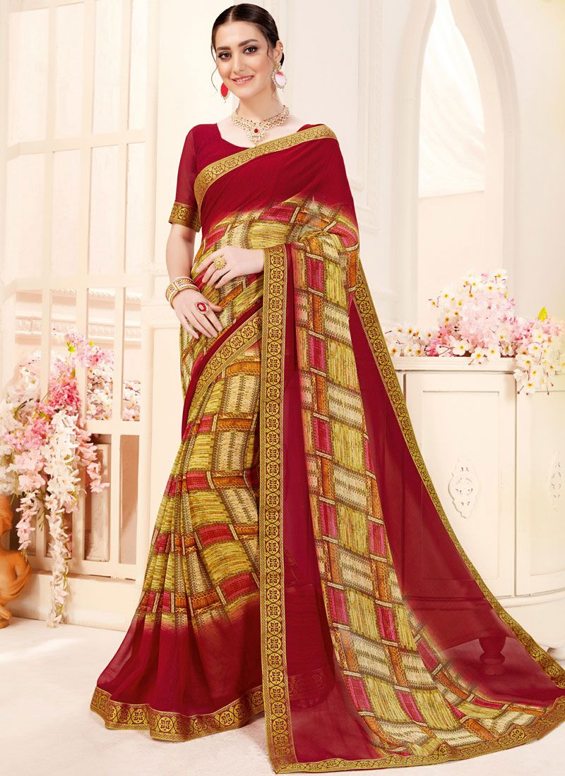 Georgette Multi Colour Trendy Saree